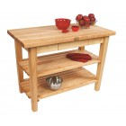 Country Work Table w Two Shelves - Natural