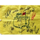 2005 Masters golf pin flag autographed by 17 winners (Fred Couples Ben Crenshaw Nick Faldo Phil Mickelson Arnold Palmer Gary Player)