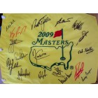 2009 Masters golf pin flag autographed by 17 winners (Billy Casper Fred Couples Nick Faldo Phil Mickelson Arnold Palmer)